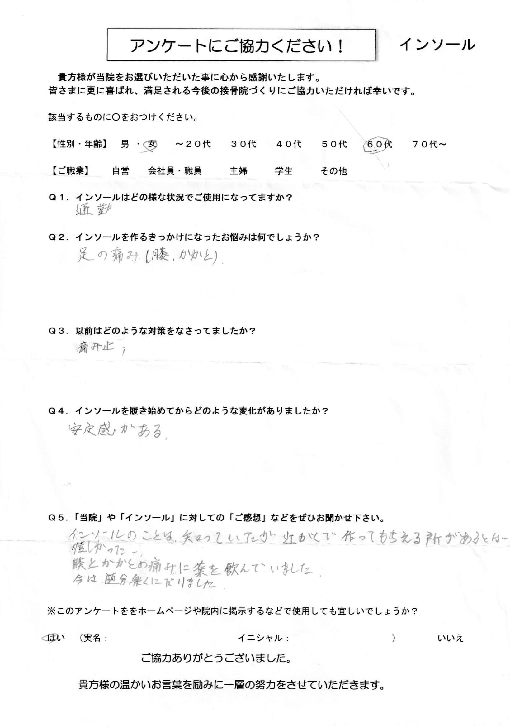 インソール アンケート 60代(女)-1